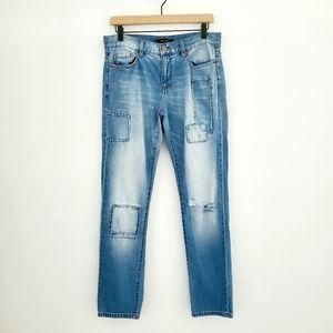Joe Fresh Patchwork Boyfriend Fit Distressed Jeans